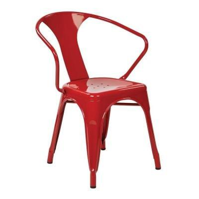 "Work Smart / OSP Designs PTR2830A4-9 30"" Metal Chair (4-Pack) (Red) - Peazz.com"
