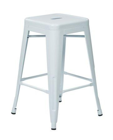 "Work Smart / OSP Designs PTR3024A2-11 24"" Steel Backless Barstool (2-Pack) (White) - Peazz.com"