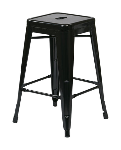 "Work Smart / OSP Designs PTR3024A4-3 24"" Steel Backless Barstool (4-Pack) (Black) - Peazz.com"