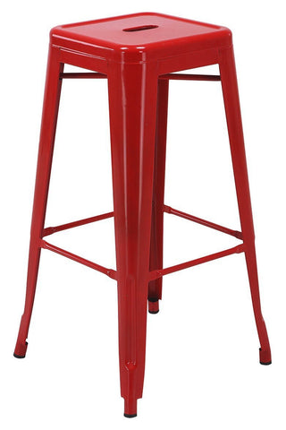 "Work Smart / OSP Designs PTR3030A2-9 30"" Steel Backless Barstool (2-Pack) (Red) - Peazz.com"