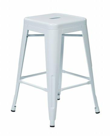 "Work Smart / OSP Designs PTR3030A4-11 30"" Steel Backless Barstool (4-Pack) (White) - Peazz.com"