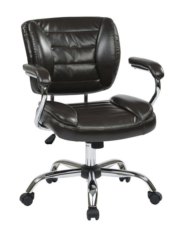 Work Smart ST52052CA-U1 Task Chair Faux Leather (Espresso) - Peazz.com
