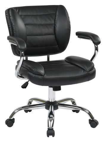 Work Smart ST52052CA-U6 Task Chair Faux Leather (Black) - Peazz.com