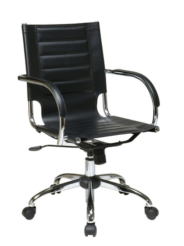 Office Star Ave Six TND941A-BK Trinidad Office Chair With Fixed Padded Arms and Chrome Finish in Black - Peazz Furniture