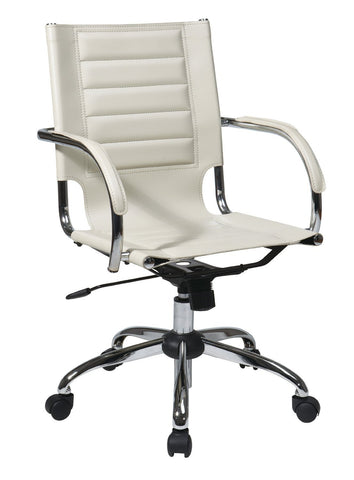 Office Star Ave Six TND941A-CRM Trinidad Office Chair With Fixed Padded Arms and Chrome Finish in Cream - Peazz Furniture