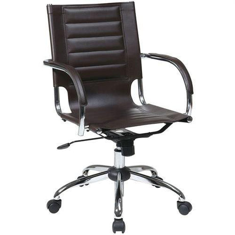 Office Star Ave Six TND941A-ES Trinidad Office Chair With Fixed Padded Arms and Chrome Finish in Espresso - Peazz Furniture