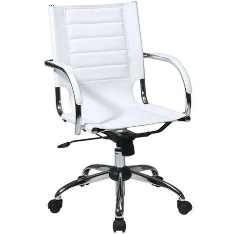 Office Star Ave Six TND941A-WH Trinidad Office Chair With Fixed Padded Arms and Chrome Finish in White - Peazz Furniture
