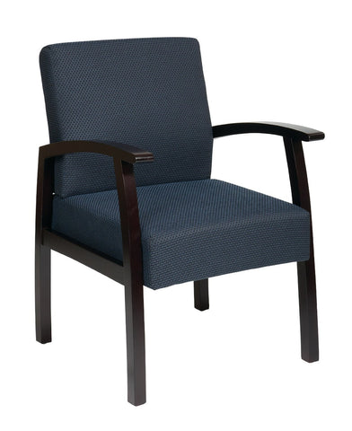 Office Star Work Smart WD1353-317 Deluxe Mahogany Finish Guest Chair with Mid Blue Fabric - Peazz Furniture