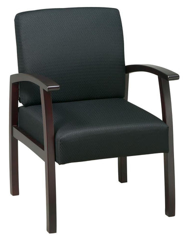 Work Smart WD1353-363 Deluxe Mahogany Finish Guest Chair. Thick Padded Seat and Back with Built-in Lumbar Support. Mahogany Wood Base and Arms. Black Fabric - Peazz.com