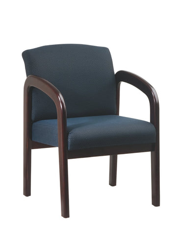 Work Smart WD383-317 Faux Leather Mahogany Finish Wood Visitor Chair - Peazz.com