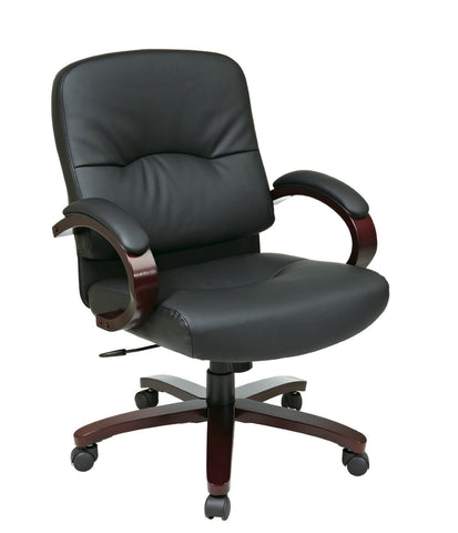 Office Star Work Smart WD5331-EC3 Eco Leather Mid Back Chair with Mahogany Finish and Wood Base and Arms - Peazz Furniture