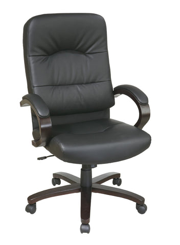 Office Star Work Smart WD5380-EC3 Eco Leather High Back Chair with Espresso Finish Wood Base and Padded Arms - Peazz Furniture