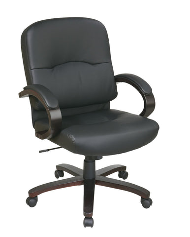 Office Star Work Smart WD5381-EC3 Eco Leather Mid Back Chair with Espresso Finish Wood Base and Padded Arms - Peazz Furniture