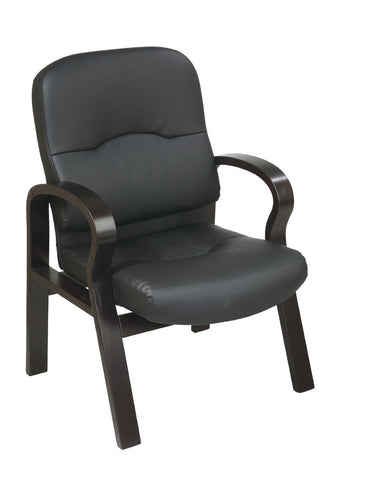Office Star Work Smart WD5385-EC3 Eco Leather Visitors Chair with Espresso Finish Wood Base and Arms - Peazz Furniture