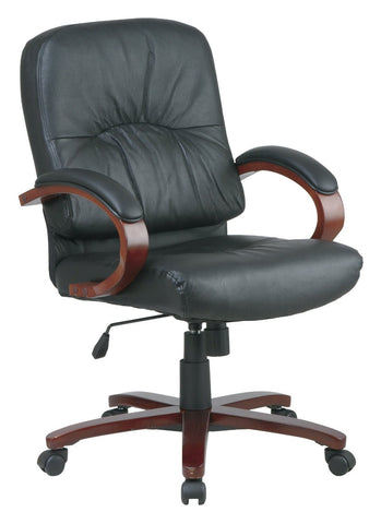 Office Star Work Smart WD5671-EC3 Eco Leather Mid Back Chair with Cherry Finish Wood Base and Arms - Peazz Furniture
