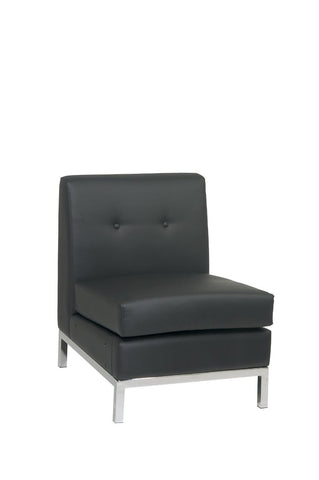 Office Star Ave Six WST51N-B18 Wall Street Armless Chair in Black Faux Leather - Peazz Furniture