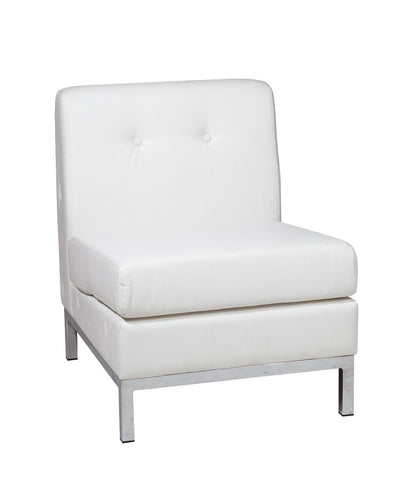 Office Star Ave Six WST51N-W32 Wall Street Armless Chair in White Faux Leather - Peazz Furniture