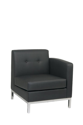 Office Star Ave Six WST51RF-B18 Wall Street Arm Chair RAF in Black Faux Leather - Peazz Furniture