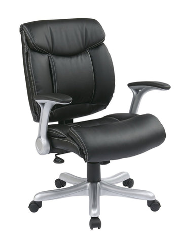 Office Star Work Smart ECH8967R5-EC3 Executive Eco Leather Chair in Silver/Black - Peazz Furniture