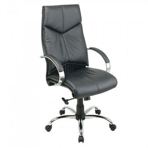 Office Star Pro Line II 8200 Deluxe High Back Black Executive Leather Chair  With Chrome
