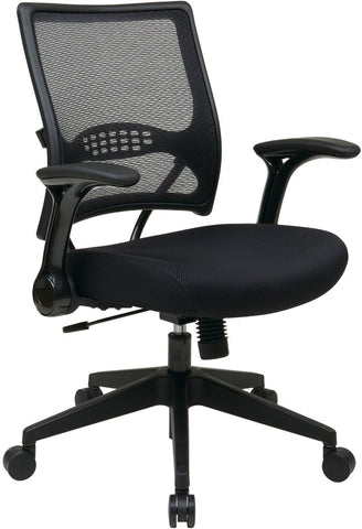 Office Star Space Seating 67-37N1G5 2-to-1 Synchro Tilt Professional AirGrid® Back and Mesh Seat Managers Chair with Flip Arms and Angled Gunmetal Coated Base - Peazz Furniture