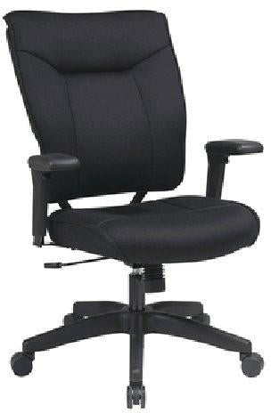 Office Star Space Seating 37-33N1A7U Professional Black Mesh Executive Chair with Soft PU Padded Adjustable Arms and Deluxe Nylon Base - Peazz Furniture