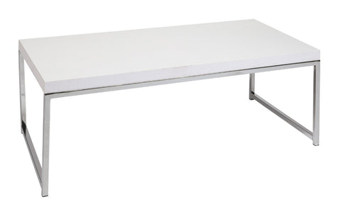 Office Star Ave Six WST12-WH Wall Street Coffee Table in White - Peazz Furniture