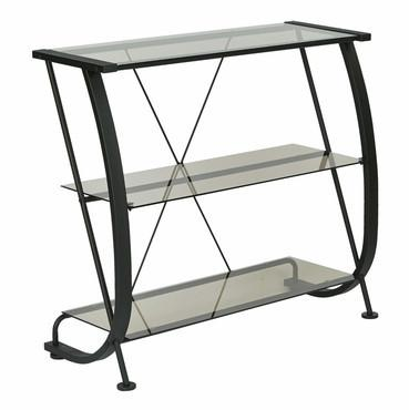 Pro-Line II / OSP Designs HZN27 Horizon 3 Shelf Bookcase with Black Powder Coated Metal Frame & Clear Tempered Glass Shelves. - Peazz Furniture