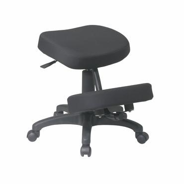 Office Star Work Smart KCM1425 Black Ergonomically Designed Knee Chair Featuring Memory Foam and Five Star Base with Dual Wheel Carpet Casters - Peazz Furniture