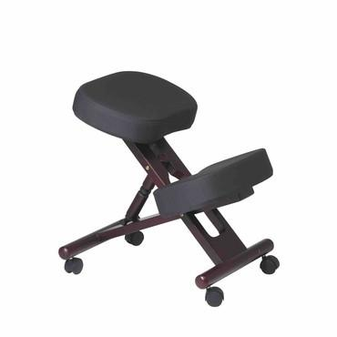 Office Star Work Smart KCW773 Ergonomically Designed Mahogany  Finished Wood Knee Chair Featuring Memory Foam and Dual Wheel Carpet Casters - Peazz Furniture