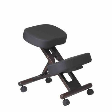 Office Star Work Smart KCW778 Ergonomically Designed Espresso  Finished Wood Knee Chair Featuring Memory Foam and Dual Wheel Carpet Casters - Peazz Furniture