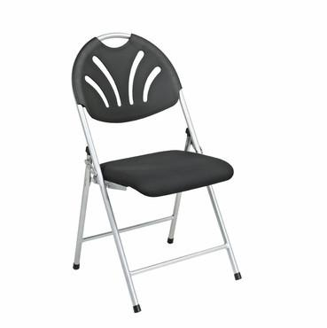 Office Star Work Smart FC8100NS-3 Folding Chair with Black Plastic Fan Back and  Fabric Seat with Silver  Frame (4-Pack) - Peazz Furniture