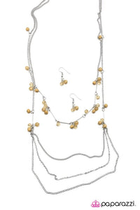 "Paparazzi ""An Air of Sophistication"" Brown Bead Silver Necklace & Earring Set Paparazzi Jewelry"