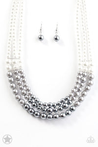 "Paparazzi ""Lady in Waiting"" BLOCKBUSTER White and Silver Pearl Necklace & Earring Set Paparazzi Jewelry"