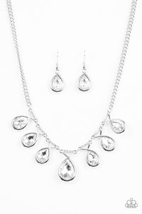 "Paparazzi ""Love At FIERCE Sight"" White Teardrop Gem Silver Necklace & Earring Set Paparazzi Jewelry"