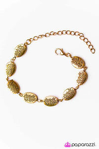 "Paparazzi ""Timber Timbre"" Gold Tone Etched Tree Pattern Bracelet Paparazzi Jewelry"