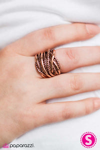 "Paparazzi ""Show Em The Ropes"" Copper Tone Rope Design Ring Paparazzi Jewelry"