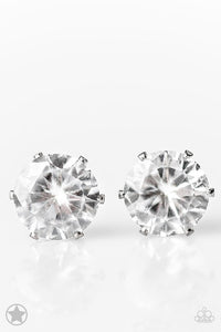 "Paparazzi ""Just In TIMELESS"" BLOCKBUSTER White Rhinestone Silver Tone Post Earrings Paparazzi Jewelry"