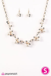 "Paparazzi ""Toast To Perfection"" BLOCKBUSTER Gold Tone White Rhinestones and Pearls Necklace & Earring Set Paparazzi Jewelry"