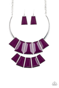 "Paparazzi ""Lions, TIGRESS, and Bears"" Purple Faceted Bead Silver Necklace & Earring Set Paparazzi Jewelry"