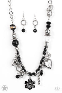 "Paparazzi ""Charmed I'm Sure"" Black & Silver Charms BLOCKBUSTER Necklace & Earring Set Paparazzi Jewelry"