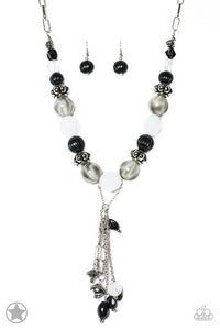 "Paparazzi ""Break A Leg!"" BLOCKBUSTER Black Bead, Silver & White Accent Charms Necklace & Earring Set Paparazzi Jewelry"