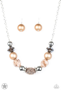 "Paparazzi ""A Warm Welcome"" BLOCKBUSTER Brown Copper Silver Necklace & Earring Set Paparazzi Jewelry"