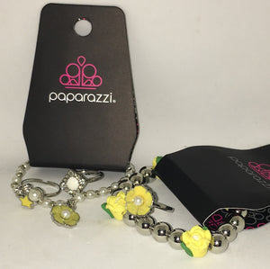 "Paparazzi Girls Starlet Shimmer ""Mellow Yellow "" Lot of 5 items 2 Bracelets, & 3 Rings Paparazzi Jewelry"
