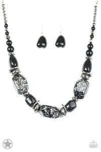 "Paparazzi ""In Good Glazes"" BLOCKBUSTER Black Beads Silver Accents Necklace & Earring Set Paparazzi Jewelry"