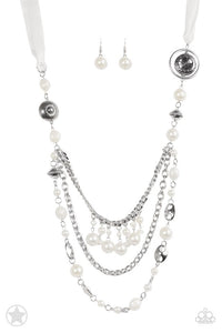 "Paparazzi ""All The Trimmings"" BLOCKBUSTER Ivory White Silky Ribbon Beads Necklace & Earring Set Paparazzi Jewelry"