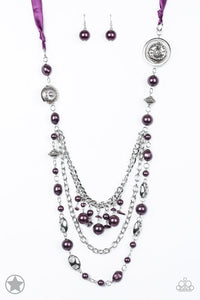 "Paparazzi ""All The Trimmings"" Purple Silky Ribbon Beads BLOCKBUSTER Necklace & Earring Set Paparazzi Jewelry"