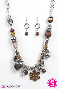 "Paparazzi ""Charmed I'm Sure"" Brown & Silver Tone Charms BLOCKBUSTER Necklace & Earring Set Paparazzi Jewelry"