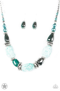"Paparazzi ""In Good Glazes"" Blue BLOCKBUSTER Chunky Beads Faux Rocks Necklace & Earring Set Paparazzi Jewelry"