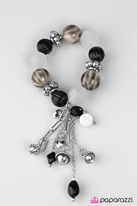 "Paparazzi ""Lights! Camera! Action!"" BLOCKBUSTER Black Bead Silver & White Accent Charm Bracelet Paparazzi Jewelry"
